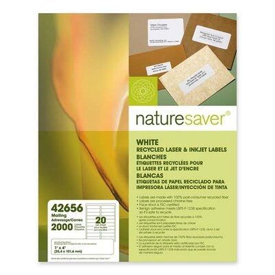 Nature Saver Laser/Inkjet Mailing Labels, White