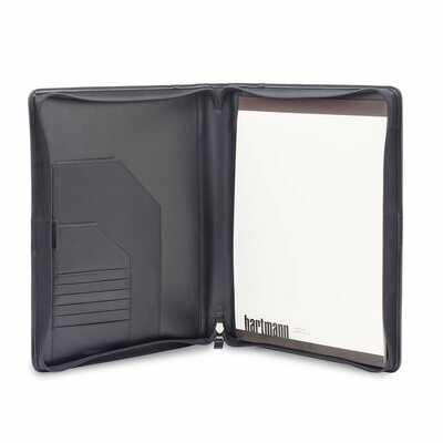 Hartmann Capital Leather Zip Executive Writing Folio in Black