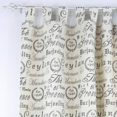 Chooty & Co Black Tea House Tab Top Curtain Single Panel