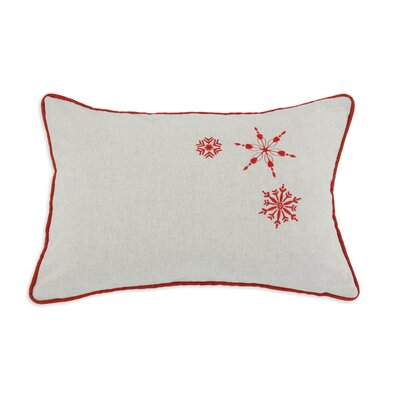 Chooty & Co Linen Natural Snowflakes Embroidered Pillow