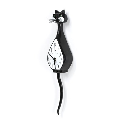 Animated Clocks Simone Cat Black Wall Clock