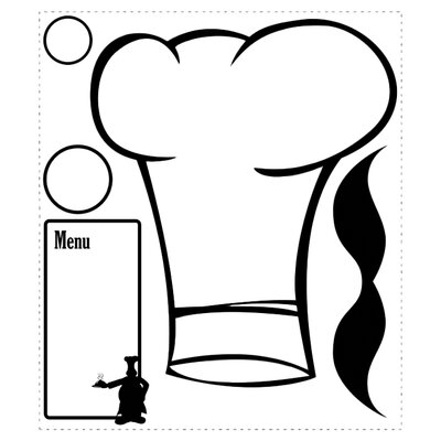 Room Mates 5-Piece Chef's Hat Dry Erase Peel and Stick Giant Wall Decals