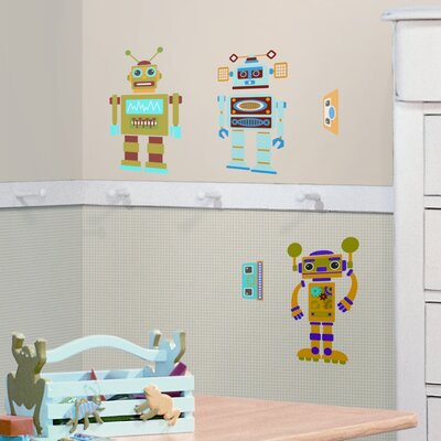Room Mates Studio Designs 65 Piece Build Your Own Robot Wall Decal Set