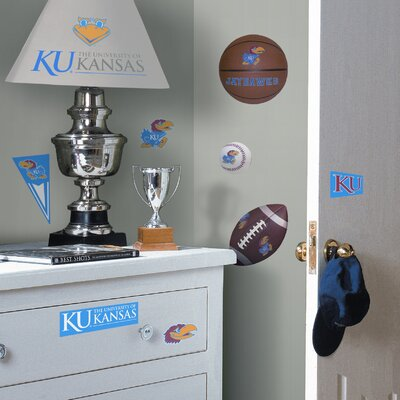 Room Mates Collegiate Sports 23 Piece Appliqué University of Kansas Jayhawks Wall Decal Set