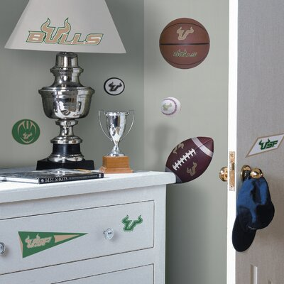 Room Mates Collegiate Sports 23 Piece Appliqué University of South Florida Bulls Wall Decal Set