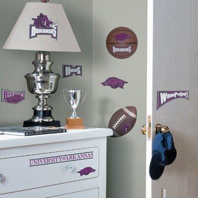 Room Mates Collegiate Sports 24 Piece Appliqué Arkansas Razorbacks Wall Decal Set