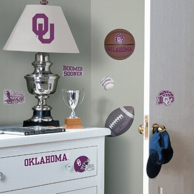 Room Mates Collegiate Sports 24 Piece Appliqué Oklahoma Sooners Wall Decal Set