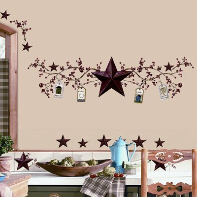 Room Mates Room Mates 40 Piece Deco Country Stars and Berries Wall Decal Set