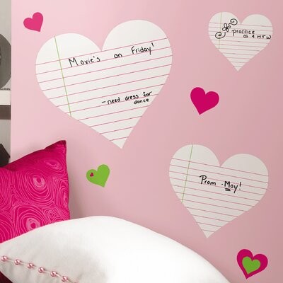 Room Mates Deco Heart Notepad Dry Erase Wall Decal