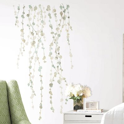 Room Mates 10 Piece Deco Hanging Vine Watercolor Peel and Stick Wall Decal Set