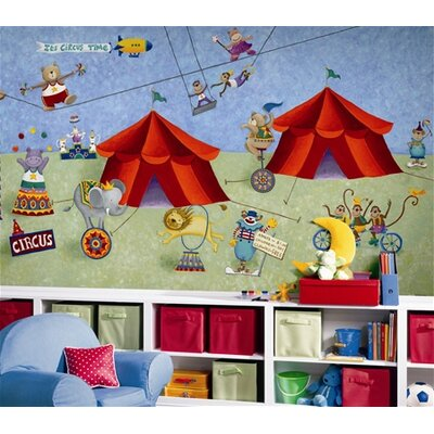Room Mates Surestrip Big Top Circus Chair Rail Prepasted Wall Mural