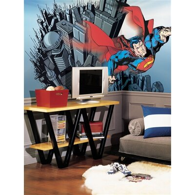 Room Mates Surestrip Superman Chair Rail Prepasted Mural