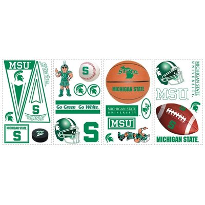 Room Mates Collegiate Sports 25 Piece Appliqué Michigan State University Wall Decal Set