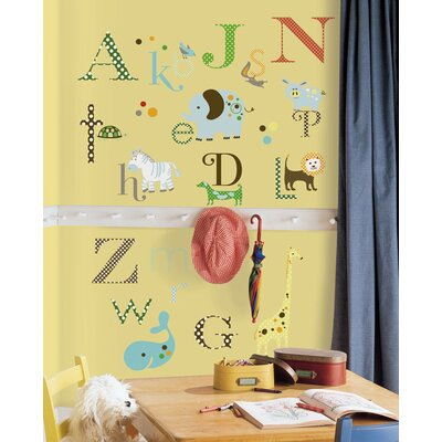 Room Mates 107-Piece Studio Designs Animal Alphabet Peel and Stick Wall Decal