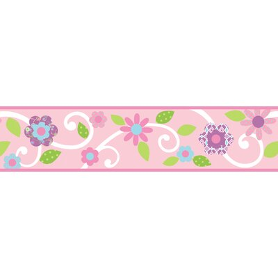 Room Mates Studio Designs Scroll Floral Wall Border in Pink / White