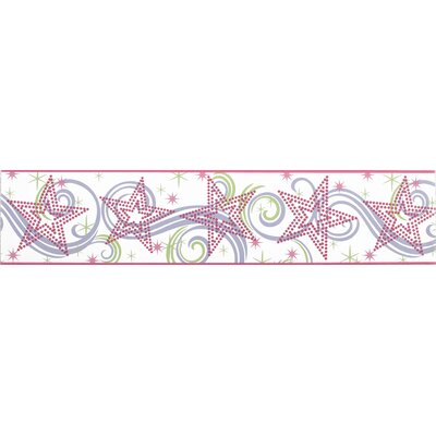 Room Mates Star Glitter Border in White / Pink / Purple