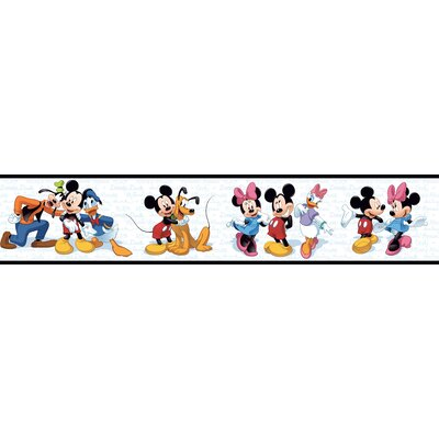 Room Mates Mickey and Friends Border in Black / White