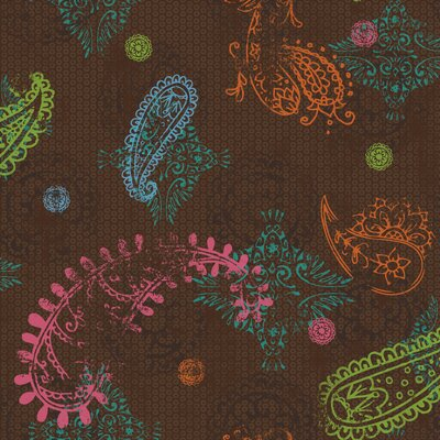 Paisley Wallpaper in Chocolate