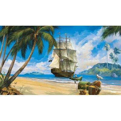 Room Mates Pirate Chair Rail Prepasted Wall Mural