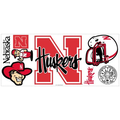 Room Mates University of Nebraska Peel and Stick Giant Wall Decal wHooks