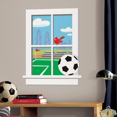 Room Mates Soccer Practice Peel and Stick Window Wall Decal