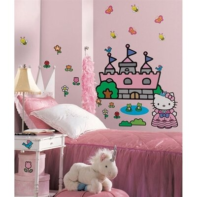 Room Mates Hello Kitty Princess Castle Giant Peel and Stick Mural