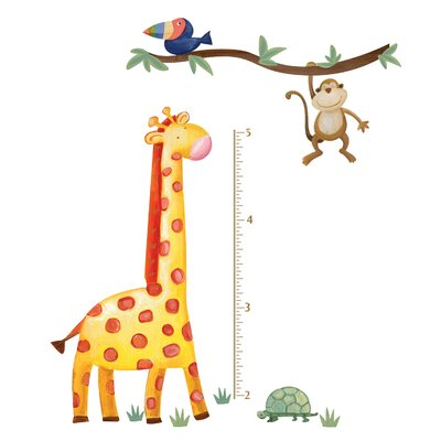 Peel and Stick Jungle Adventure Giraffe Growth Chart Wall Decal