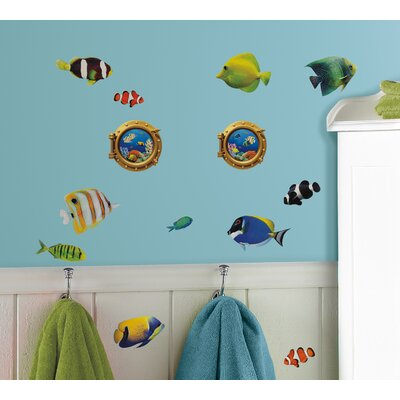 Room Mates Peel & Stick Fish Wall Decals with Lenticular Port Hole Wall Decal