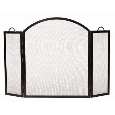 Minuteman International 3 Panel Arched Top Twisted Rope Wrought Iron Fireplace Screen