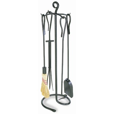 Minuteman International 4 Piece Shepherd's Hook Wrought Iron Fireplace Tool Set