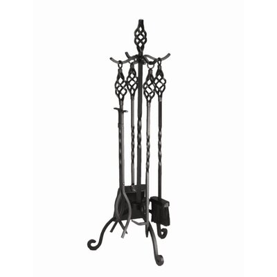 Minuteman International Adams 4 Piece Wrought Iron Fireplace Tool Set