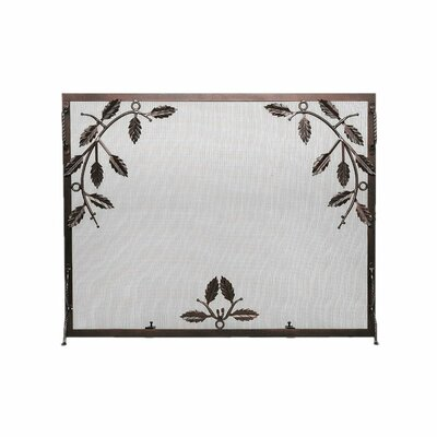 Minuteman International Weston Leaf Wrought Iron Fireplace Screen