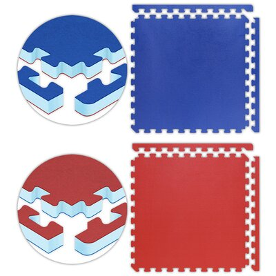 "Alessco Inc. Jumbo Reversible SoftFloors 2' x 2' x 1"" Set in Red / Royal Blue"