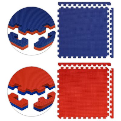 "Alessco Inc. Jumbo Reversible SoftFloors 2' x 2' x 7 / 8"" Set in Red / Royal Blue"