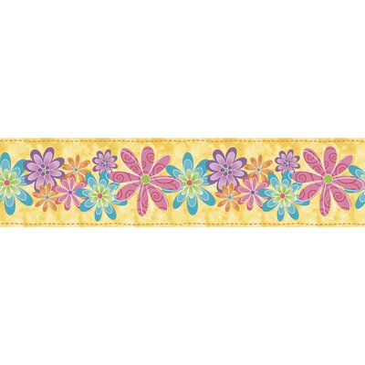 Blue Mountain Wallcoverings Snap Kids Flirty Flowers Self Stick Wallpaper Border
