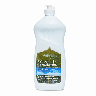 Seventh Generation Free & Clear Natural Dishwashing Liquid, Non-Toxic, 25 Oz.