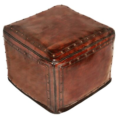 New World Trading Large Leather Ottoman