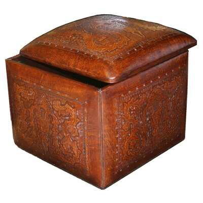 New World Trading Colonial Leather Large Box Cube Ottoman with Storage