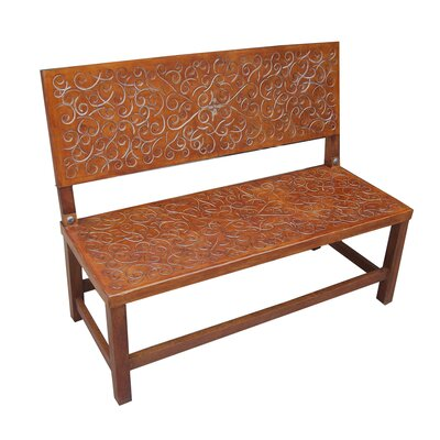 New World Trading Sevilla Leather Entryway Bench