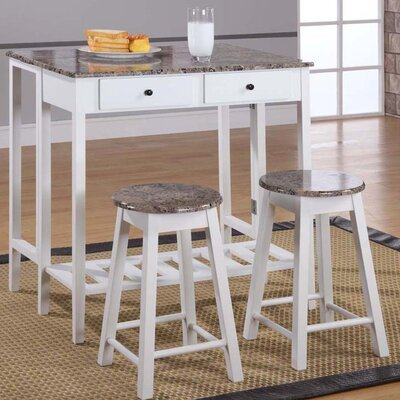 InRoom Designs Breakfast 3 Piece Pub Table Set