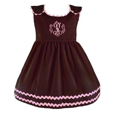 Bon Bon Corduroy Dress in Brown with Pink Trim