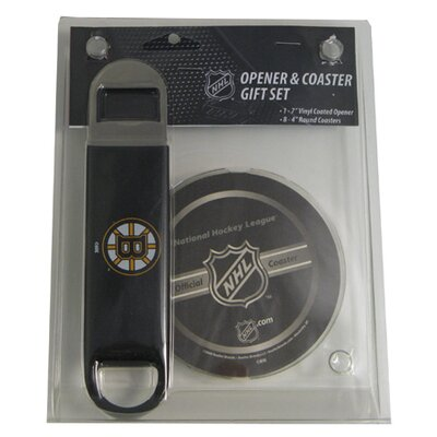Boelter NHL Bottle Opener with Coaster Set - Boston Bruins