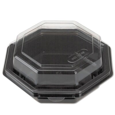 Reynolds Food Packaging Octagon Hinged Plastic Carryout Container with Black Base in Clear (150 count)