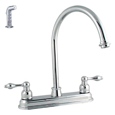 LDR Victorian Lever Double Handle Kitchen Faucet with Spray