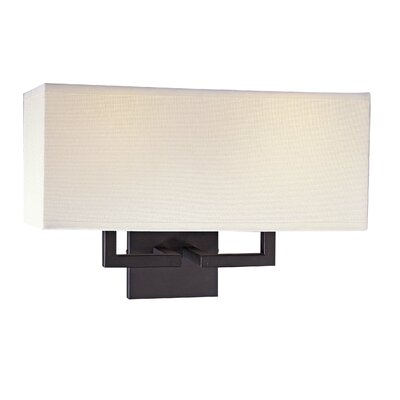 George Kovacs by Minka  Wall Sconce in Bronze with Off White Linen Shade