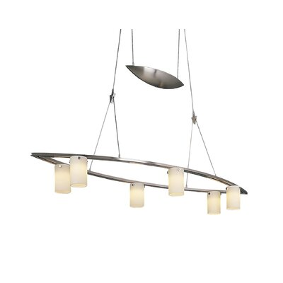 6 Light Tilted Counter Weight Chandelier