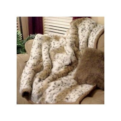 Posh Pelts Lynx Jacquard Faux Fur Acrylic Throw Blanket and Pillow Set