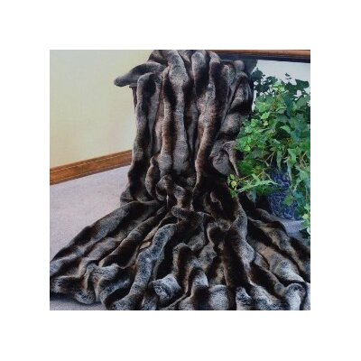 Posh Pelts Ribbed Chinchilla Faux Fur Acrylic Throw Blanket with Velvet-Velour Lining