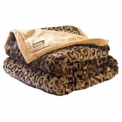 Posh Pelts Leopard Faux Fur Acrylic Throw Blanket
