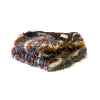 Red Fox Tail Faux Fur Acrylic Throw Blanket